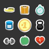 Healthy fitness lifestyle stickers Stock Images