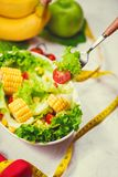 Healthy fitness meal with fresh salad. Diet concept. Royalty Free Stock Photos