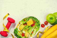 Healthy fitness meal with fresh salad. Diet concept. Royalty Free Stock Image