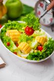 Healthy fitness meal with fresh salad. Diet concept. Royalty Free Stock Photo