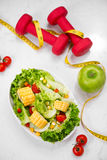 Healthy fitness meal with fresh salad. Diet concept. Stock Photography