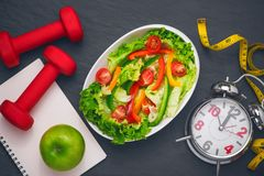 Healthy fitness meal with fresh salad. Diet concept. Royalty Free Stock Photography
