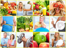 Healthy fitness people set. Smiling fitness people set collage. Weight loss healthy lifestyle Royalty Free Stock Photography