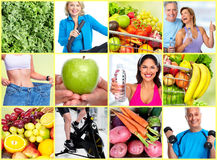 Healthy fitness people set. Smiling fitness people set collage. Weight loss healthy lifestyle Royalty Free Stock Photo