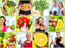 Healthy fitness people set. Stock Photography