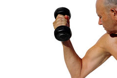 Healthy fitness senior. Elderly man lifting weights on a white background Stock Image