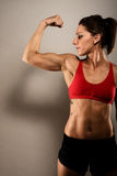 Healthy Fitness Woman Flexing stock photos
