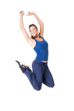 Healthy fitness woman jump isolated on white background Royalty Free Stock Photos