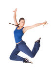 Healthy fitness woman jump isolated on white background stock photo