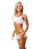 Healthy fitness woman with  measuring tape Stock Images