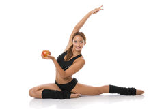 Healthy fitness woman with red apple Stock Images