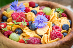 Healthy flowers and fruits with cornflakes Stock Images