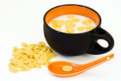 Healthy food. A bowl with corn flakes and milk stock images
