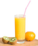 Healthy food. Glass of orange juice, tangerine and halves kiwi it is isolated on a white background Stock Image