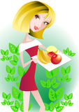 Healthy food. A young girl offers  healthy food Stock Image