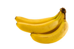 Healthy food. A bunch of isolated bananas with clipping path stock photography