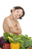 Healthy food. Beautiful young child with vegetables Royalty Free Stock Photos