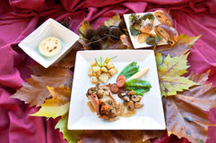Healthy food. Different kinds of food with autumn leaves Royalty Free Stock Image