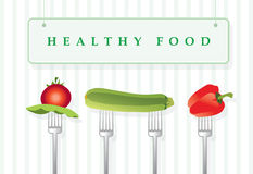 Healthy food. Vector illustration of vegetables attached to forks, your text can be written inside signboard vector illustration
