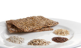 Healthy food. Two healthy whole grain home made crackers and the ingredience Royalty Free Stock Photos