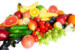 Healthy food. Selection of fruit and vegetables isolated on white Royalty Free Stock Photo
