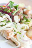 Healthy food. Smoked salmon salad with onion and baby potatoes - Dukan Diet Stock Photography