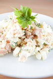 Healthy food. Smoked salmon salad with onion and eggs - Dukan Diet Royalty Free Stock Photography