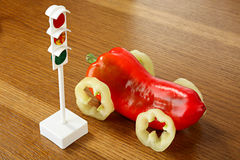 Healthy food. Health concept. Traffic light and car from pepper Stock Images