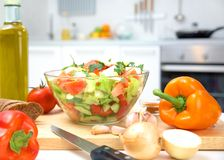 Healthy food. Abundance  of fruits and vegetables on kitchen table Royalty Free Stock Images