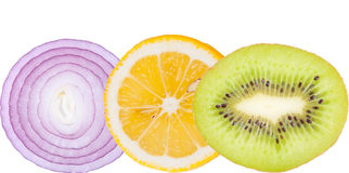 Healthy food. Lemon, kivi and red onion ring isolated Royalty Free Stock Photos