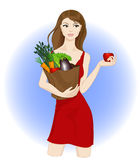 Healthy food. Young woman carrying healthy food vector illustration