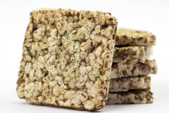 Healthy food. Stack of some cereal cracker  over white Stock Photo