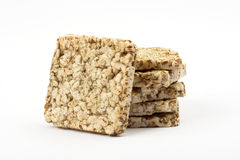 Healthy food. Stack of some cereal cracker  over white Royalty Free Stock Photography