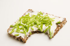 Wholegrain cracker with chives Royalty Free Stock Image