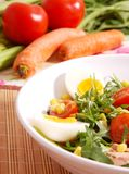 Healthy food. Eggs tomatoes rocket and tuna salad Royalty Free Stock Photography