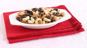 Healthy Food Almonds, Cashew Nuts and Raisins stock photography