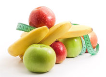 Healthy food, apples and bananas. Close-up Royalty Free Stock Images