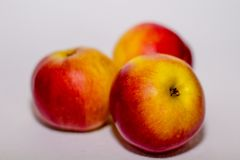 Healthy food - apples. yellow and red aplles. autumn`s presents Stock Photo