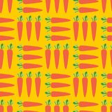 Healthy food background. Carrot Field seamless vector pattern. Vegetable background on yellow. royalty free stock photos
