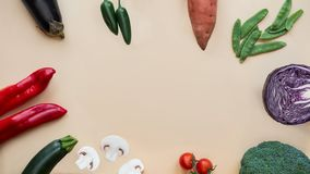 Healthy food background. Different vegetables. Copy space stock image