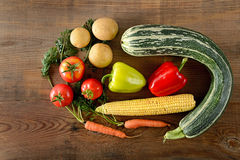Healthy food background . different vegetables on old wooden tab. Healthy food background / studio photography of different vegetables on old wooden table Royalty Free Stock Photography