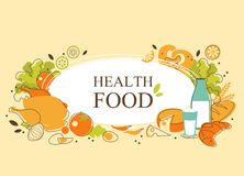 Healthy food background in doodle retro style Royalty Free Stock Images