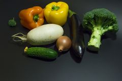Healthy food. set of vegetables on a dark background royalty free stock photos