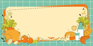 Healthy Food Background In Doodle Retro Style Royalty Free Stock Photo