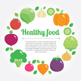 Healthy food  background with place for text. Modern flat illustration, stylish design element Stock Photos