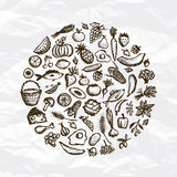 Healthy food background, sketch for your design royalty free illustration