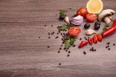 Healthy food background / studio photo of different fruits and vegetables on wooden table. Stock Image