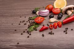 Healthy food background / studio photo of different fruits and vegetables on wooden table. Royalty Free Stock Image