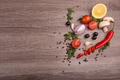 Healthy food background / studio photo of different fruits and vegetables on wooden table. Stock Images