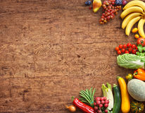 Healthy food background. Studio photography of different fruits and vegetables royalty free stock image